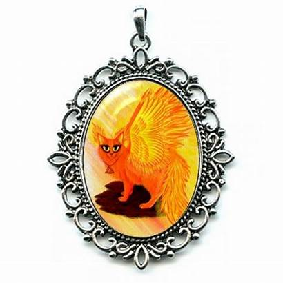 Fire Elemental Cat Necklace Cameo Fairy Tigerpixie