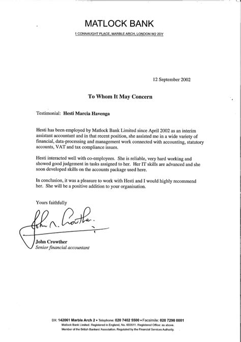 Matlock Bank - reference letter - John Crowther