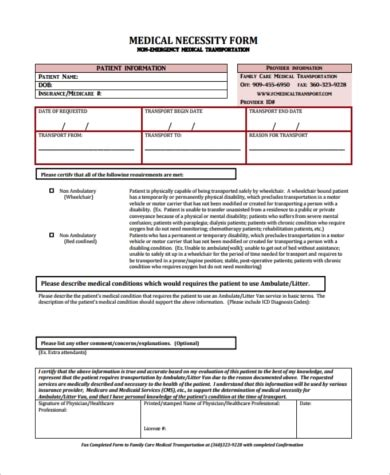 sample medical necessity form   documents