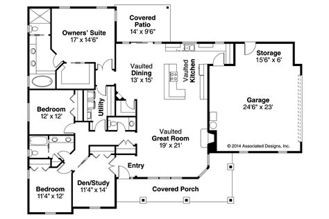 Ranch House Plans  Brightheart 10610  Associated Designs