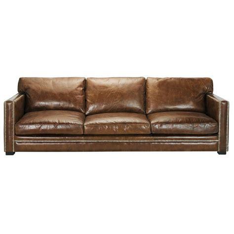 Canapé Vintage Marron - 4 5 seater leather sofa in brown dandy maisons du monde