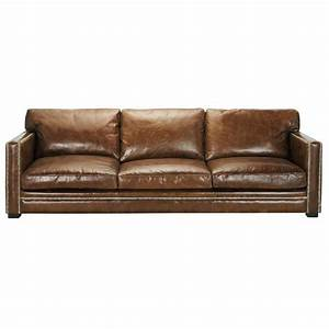 4 5 seater leather sofa in brown dandy maisons du monde With canapé en cuir vintage