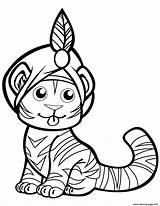 Tiger Coloring Turban Tigre Coloriage Mignon Disegno Printable Dessin Disegni Prints Tygrys Malvorlagen Template Supermalvorlagen Gemerkt Drukuj Ausmalbilder sketch template