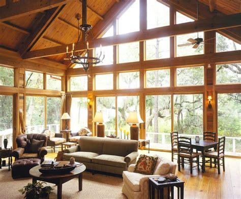 great room windows living rustic with vaulted blade