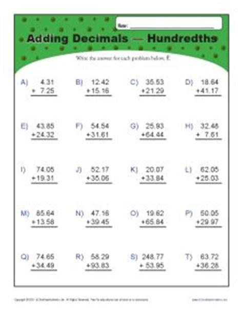adding decimals hundredths decimal worksheets