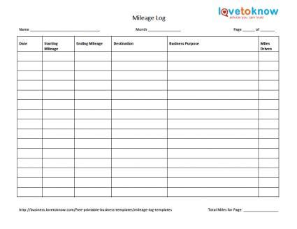 Business mileage template costumepartyrun mileage log templates lovetoknow wajeb Image collections