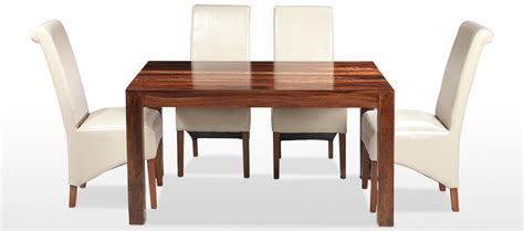 cube sheesham 140 cm dining table and 4 chairs quercus