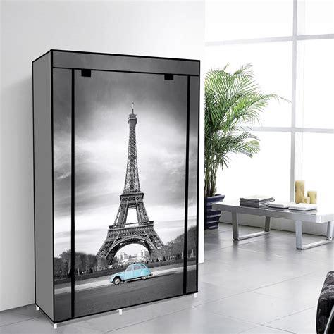 Canvas Wardrobe by 42 Quot Portable Non Woven Canvas Wardrobe Storage Eiffel