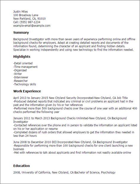 professional background investigator templates to showcase