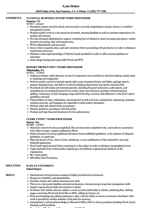 Word Resume by Word Processor Resume Sles Velvet