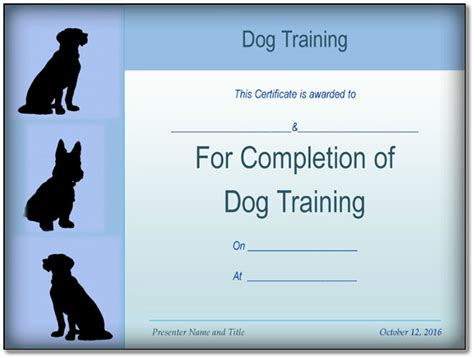 basic dog training certificate template   formats