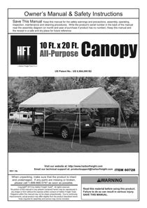 harbor freight tools  ft   ft portable car canopy product manual page