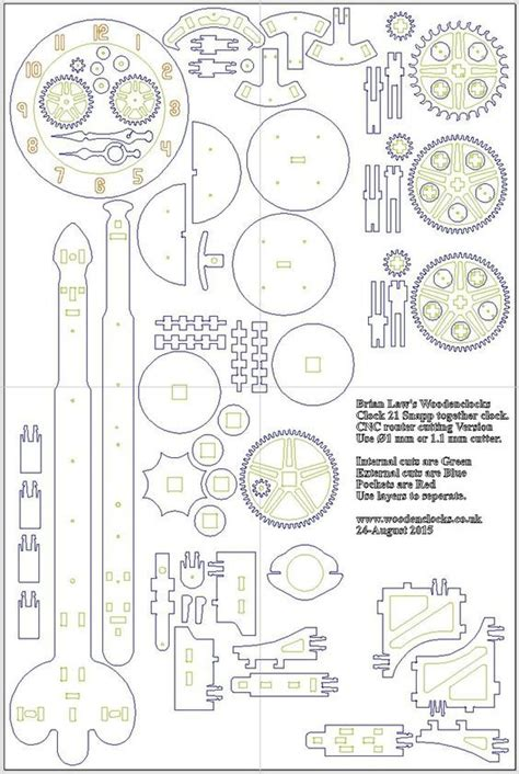 planos reloj laser engranajes de madera relojes de