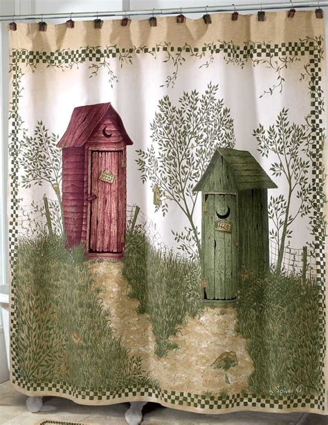outhouses shower curtain country decor fabric shower