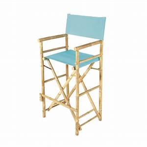 Chaise De Bar Bleu : chaise de bar de jardin en tissu et bambou bleu turquoise robinson maisons du monde ~ Teatrodelosmanantiales.com Idées de Décoration