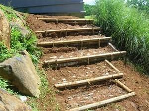 Comment Retenir La Terre Dans Une Pente : confection d 39 escalier en rondin de bois blog de lesjardinsdebonnemere ~ Melissatoandfro.com Idées de Décoration