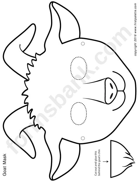 blackwhite goat mask template printable