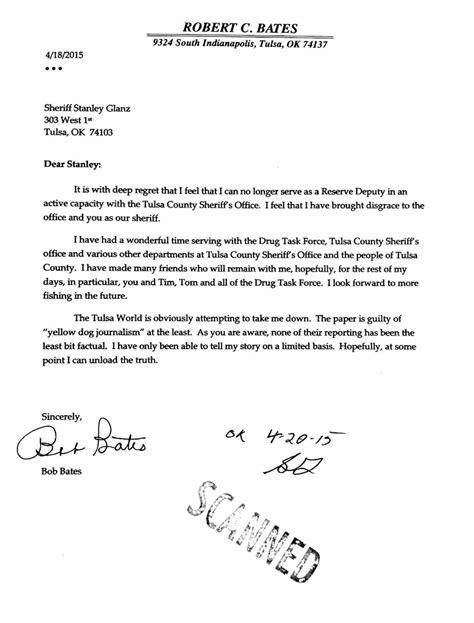 Robert Bates' resignation letter | | tulsaworld.com