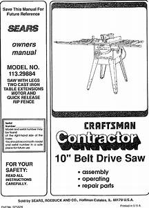 Craftsman 113298842 User Manual Table Saw Manuals And