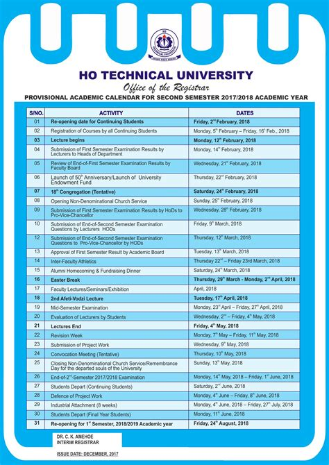 htu semester academic calendar