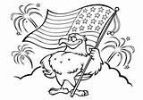 Flag Coloring Eagle Holding Raskrasil sketch template