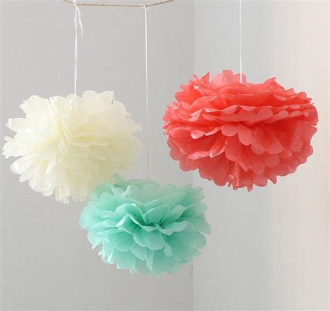 12pcs mixed mint coral ivory diy tissue paper flower pom