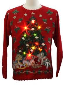 womens lightup ugly christmas sweater heirloom collectibles womens red background ramie