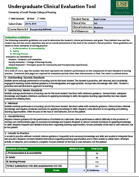 Usf Nursing Resume by Evaluations Cormier