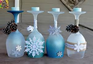 winter wine glasses candle holders