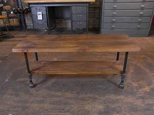 custom vintage industrial rustic wood steel and cast iron With rustic wood and wrought iron coffee table