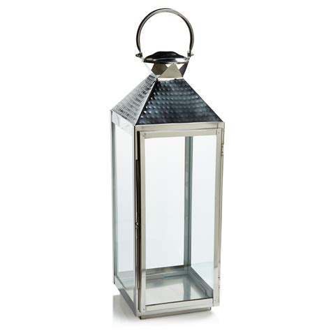Chrome Candle Lantern by Colours Chrome Effect Stainless Steel Glass Hurricane