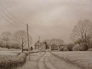 Time lapse landscape pencil drawing, farm buildings - YouTube