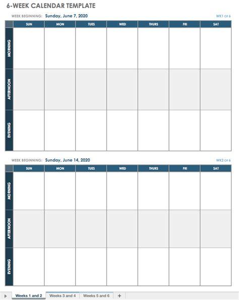 Week Calendar Template 15 Free Weekly Calendar Templates Smartsheet