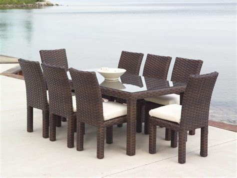 outdoor wicker table and chairs dining room brown rattan with glass table wicker chairs