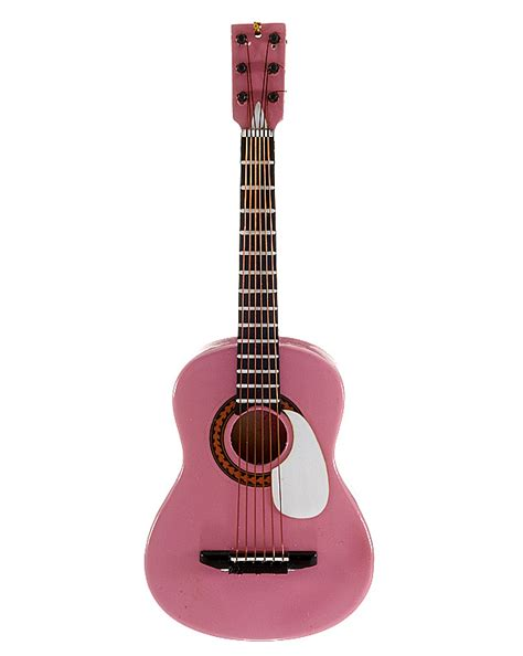 pink acoustic guitar christmas ornament music and