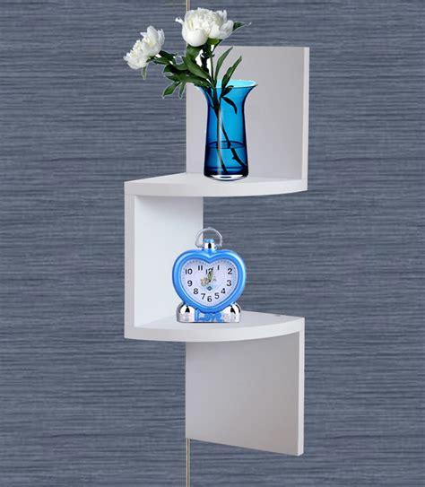 hanging corner shelf white finish corner wall mount hanging zig zag shelf decor