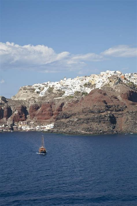 Pink Santorini Church On A Hillside Stock Image Image Of