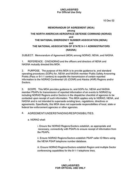 memorandum of agreement memorandum of agreement among norad nena and nasna intelligence