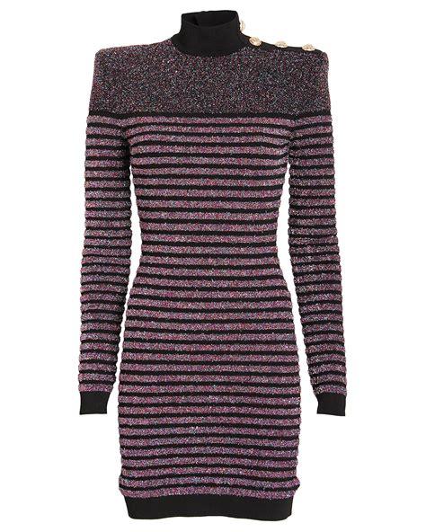 dress turtleneck knit striped kimberly glitter guilfoyle balmain dresses