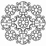 Mandala Coloring Ladybug Pages Lady Mandalas Square Bugs Colouring Bug Ladybugs Designs Adult Embroider Quilt Stitchery Coccinelle Printable Sheets sketch template