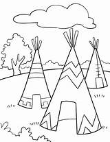 Tipi Drawing Teepee Coloring Pages Indian Native Getdrawings sketch template