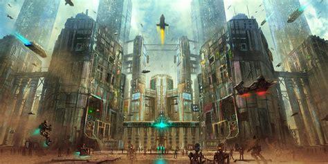 artwork robot city futuristic spaceship wallpapers hd