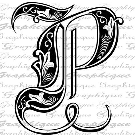fancy letters clip art letter initial p monogram