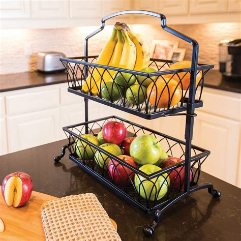 tier wrought iron wire basket storage fruit rack holder