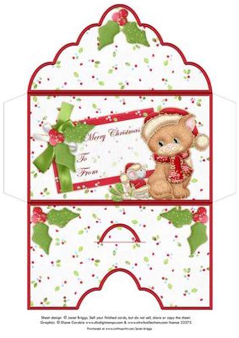 christmas money wallet envelope mistletoe cat mouse cup craftsuprint