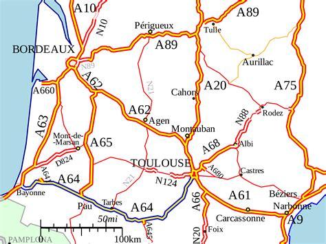 Carte Des Autoroutes Du Centre De La by Autoroute A64 Wikip 233 Dia
