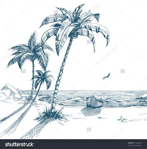 Boat On Beach Drawing palm tree beach drawing summer beach palm trees seagulls