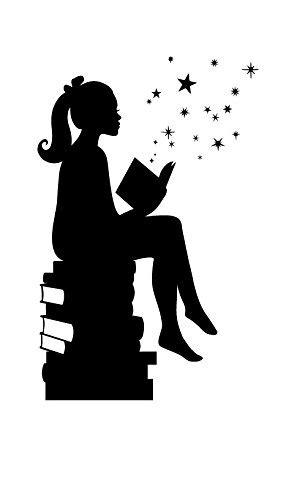 Girl Reading Books Magic - Facing Right, Small, Black