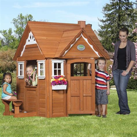 outdoor wooden cedar cottage play house  kids