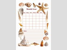 Monthly Blank Calendar in Designer Sea Shell Free